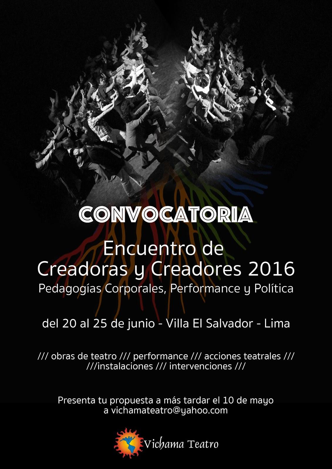 Vichama convocatoria encuentro de creaodras y creadores 2016 for Convocatoria profesores 2016