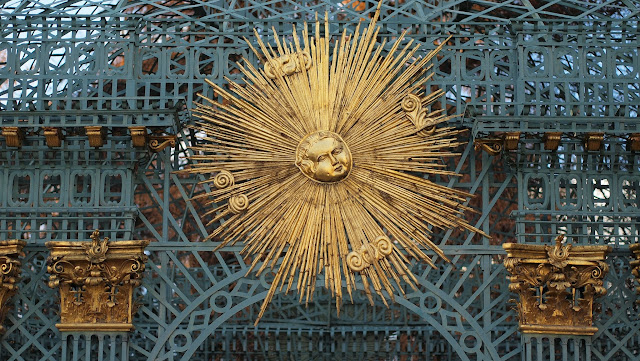 Golden sunburst sculpture at Sans Souci in Potsdam, Germany