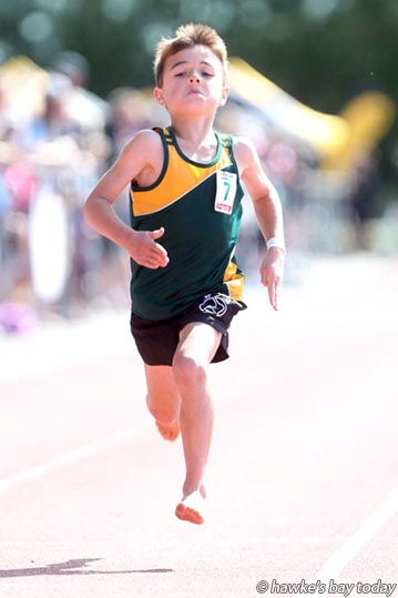 Keegan Waru, third, bronze pennant, 100m, grade 7, Central Hawke's Bay, Colgate Games at Hawke's Bay Regional Sports Park, Hastings.  photograph