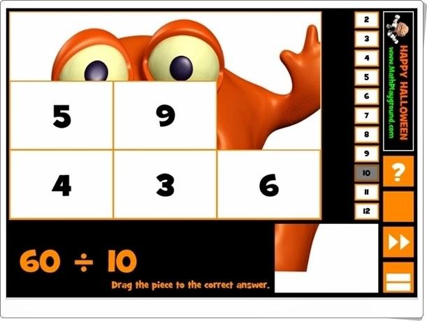 http://juegoseducativosonlinegratis.blogspot.com/2014/10/halloween-puzzle-division.html