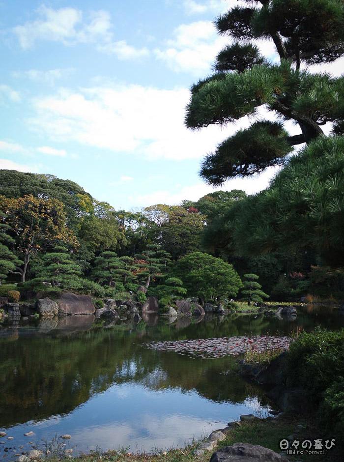 Vue sur l'étang, jardin Keitaku-en, Tennôji, Osaka