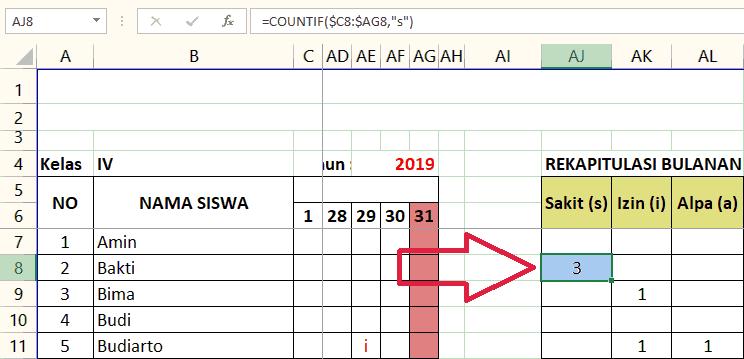 Gambar Rumus menghitung ketidakhadiran bulanan siswa dengan Microsoft Excel