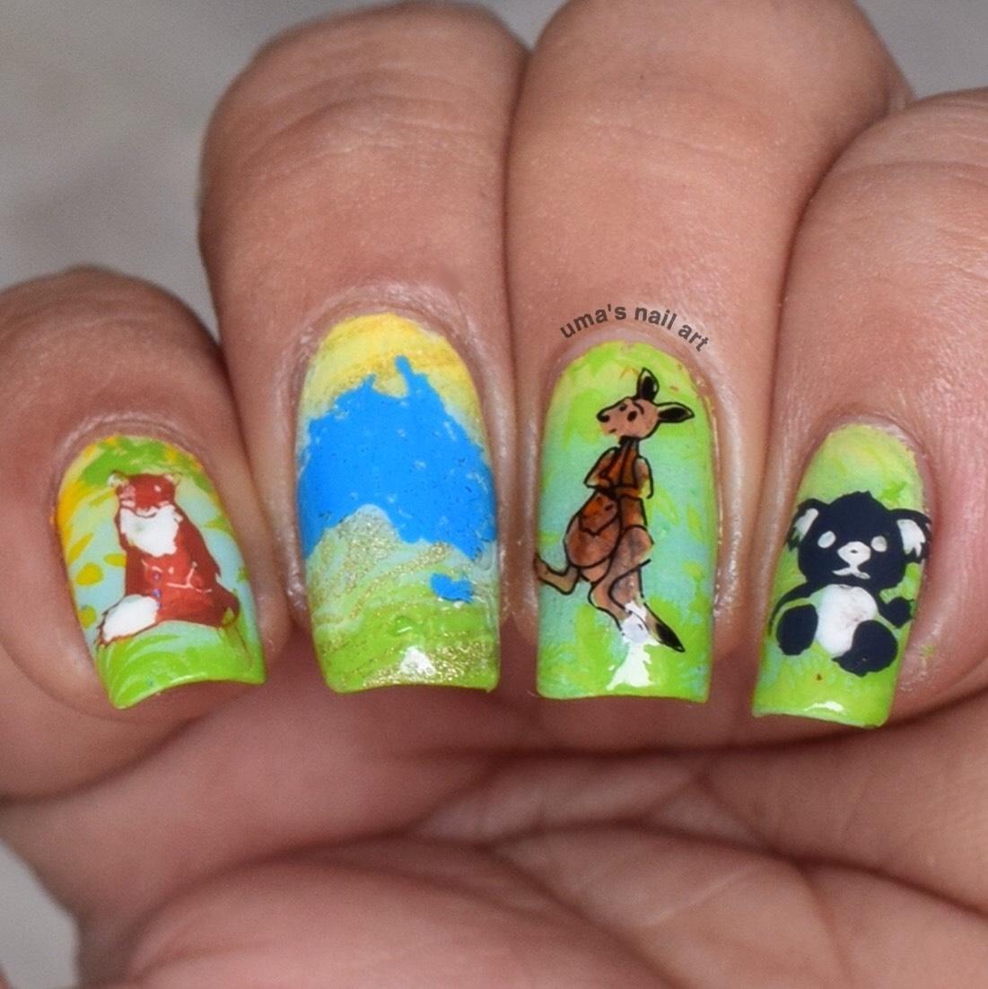 Uma\'s Nail Art: The Digital Dozen - 5 Days 5 Continents : Day 3
