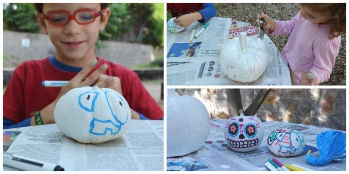 actividades, manualidades niños motricidad fina otoño pintar calabazas con pintura y rotuladores