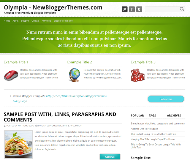 Olympia-Blogger-template