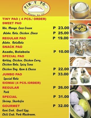 Pinoy Food Menu List