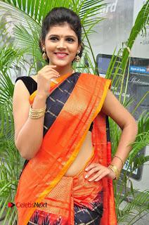Model Sangeeta Kamath Pictures in Saree at Silk India Expo Curtain Raiser  0008.JPG