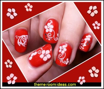 flower nail Stickers - flower nail decals -  floral nail designs