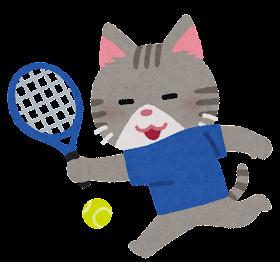 テニスをやる動物のキャラクター(猫)
