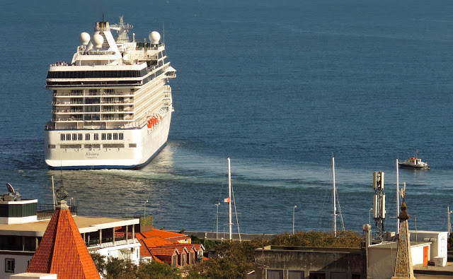 Riviera cruise ship leaves Funchal harbour