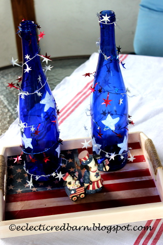 4th of July decorate wine bottles