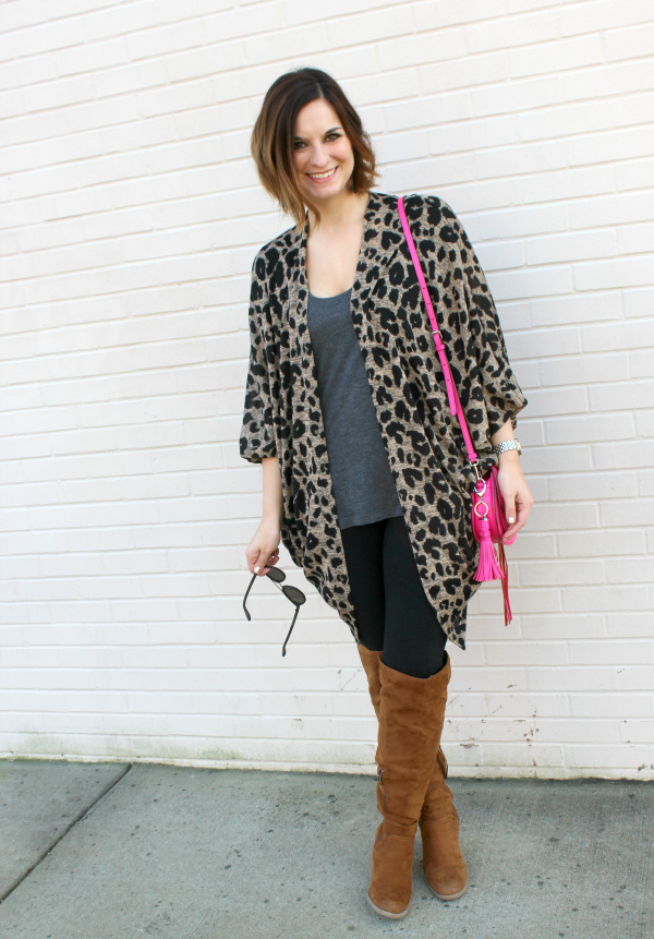 leopard, kimono, gray monroe, mom style, mom fashion, style on a budget