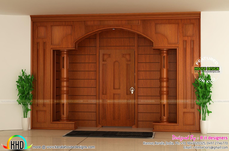 Bifurcated stair, front door, living and bedroom - Kerala ...