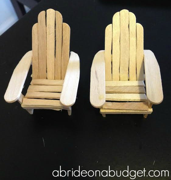 Planning a beach wedding? You'll want to make this DIY Adirondack Chair Cake Topper for your wedding cake. Get the tutorial at www.abrideonabudget.com. #diywedding #diybride #caketopper #diycaketopper #adirondackcahir #weddingcake
