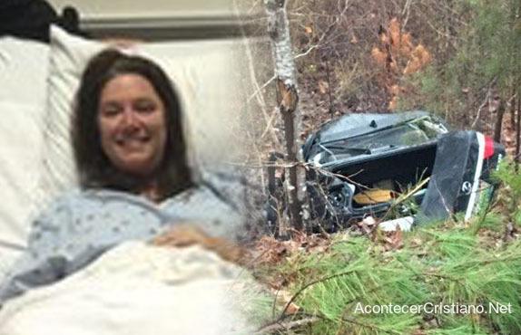 Mujer sobrevive a accidente automovilístico