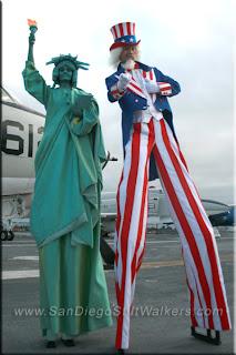 ubcle sam, liberty, statue, lady, stilt walker