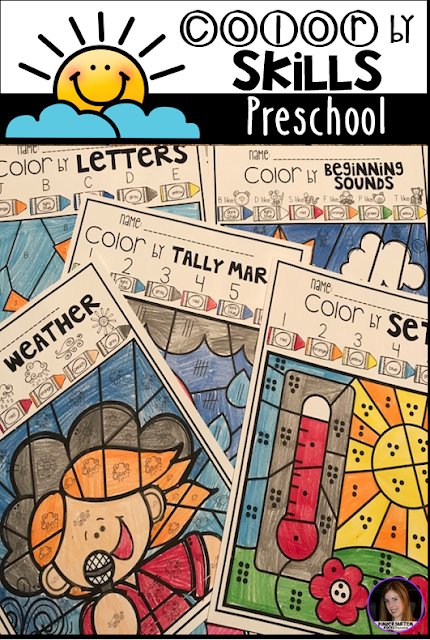 Weather Color by Skills for Preschool is a fun and engaging way to practice a variety of skills in your literacy and math centers. The boys and girls will build number recognition with numbers 1-10, tally mark recognition (1-6), shape identification, Match numbers to sets 1-5, 6-10, beginning sounds, ABC's and simple sight words.