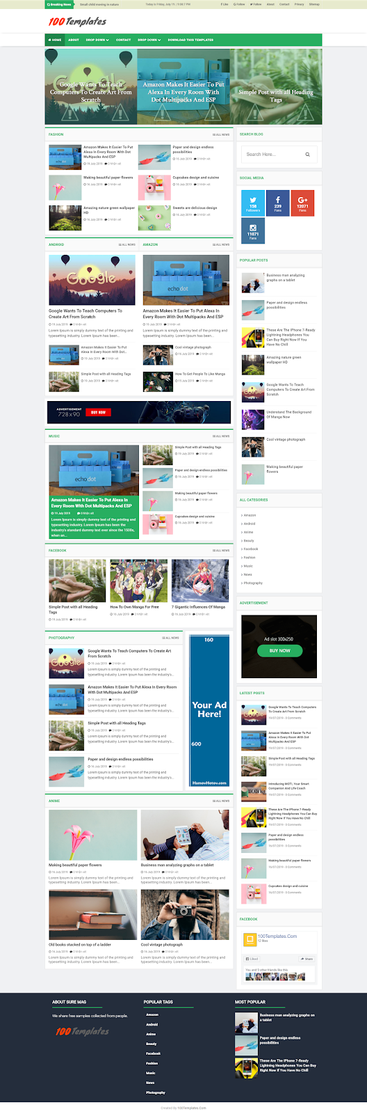 Sure Mag Blogger Templates Free Download