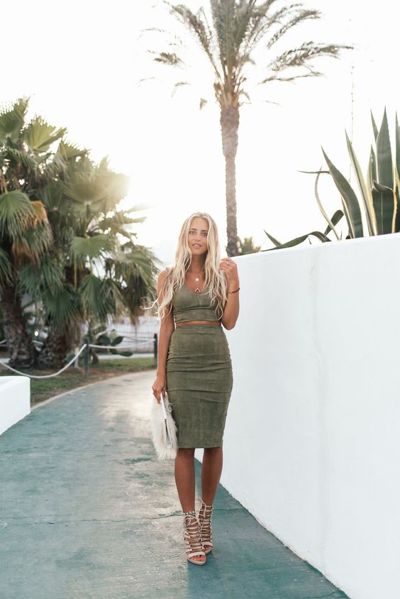 Janni Deler Khaki Suede Skirt + Crop Top + Public Desire Lace Up Heels