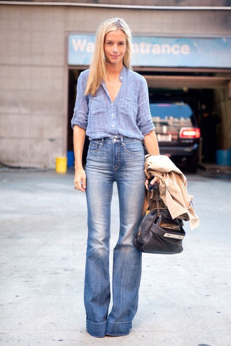 Stylish Denim-On-Denim Street Style Idea: Meredith Melling in a chambray shirt and wide-leg jeans