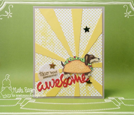 Dachshund taco card by Naki Rager | Dress Up Doxies stamp set by Newton's Nook Designs #newtonsnook