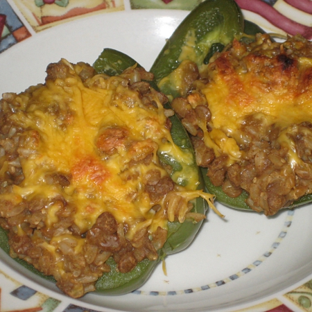 Taco-Style Lentils and Rice Stuffed Peppers