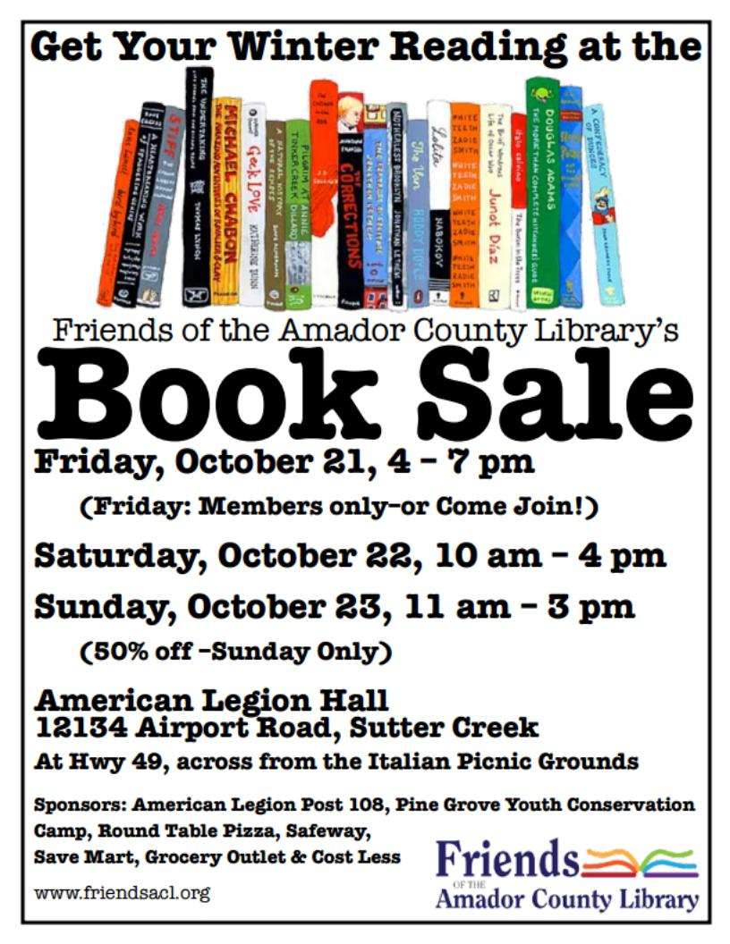 facl book sale the friends of the amador county library facl is presenting its fall book sale october 21 22 23 at the hall of american legion post