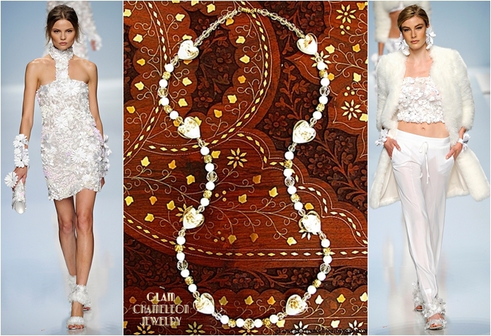 Glam Chameleon Jewelry white heart shaped flower glass beads necklace