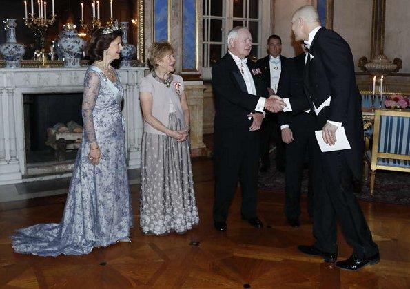 King Carl Gustaf, Queen Silvia, Prince Carl Philip, Princess Sofia, Princess Madeleine, Christopher O´Neill, David Johnston, Sharon Johnston attend the state banquet at Royal palece