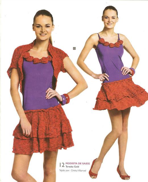 Patrón #1665: Chaleco y Falda a Crochet
