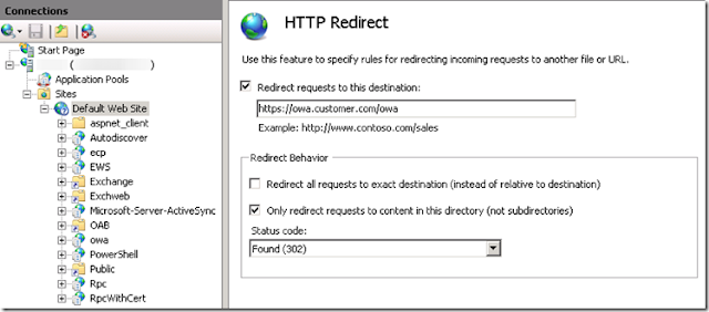How to redirect owa to https exchange 2016