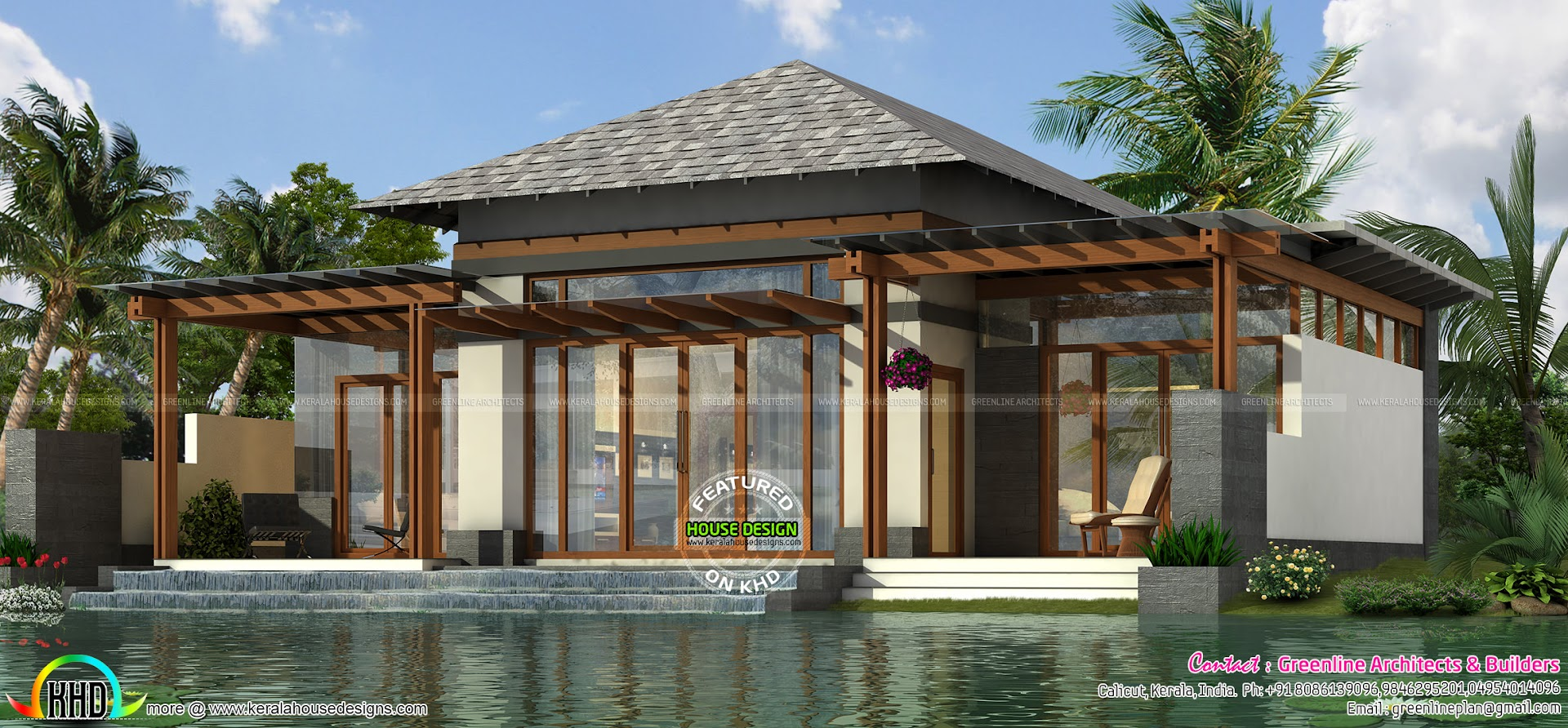 Luxury small home plan 1303 sq ft kerala home design and for Small luxury house plans