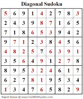 Diagonal Sudoku (Fun With Sudoku #242) Puzzle Answer