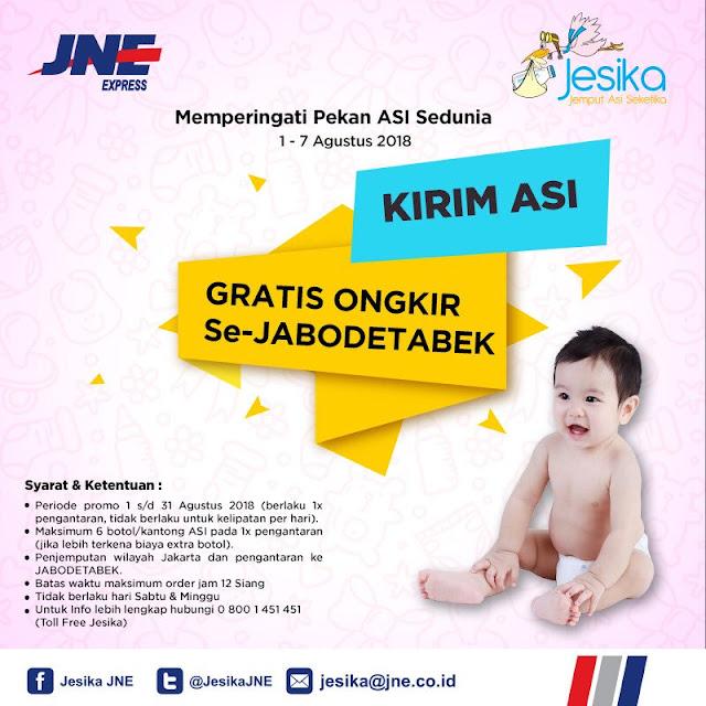 JNE - Promo Gratis Ongkir Kirim ASI Se-JABODETABEK (s.d 7 Agustus 2018)