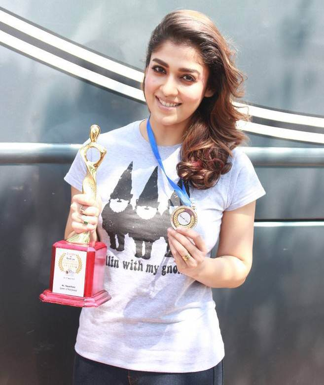 Nayanthara Stills At Raindropss Awards Event In Blue T Shirt Jeans