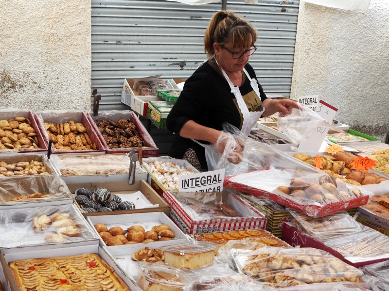 Cake and pastry stall at San Miguel de Salinas market