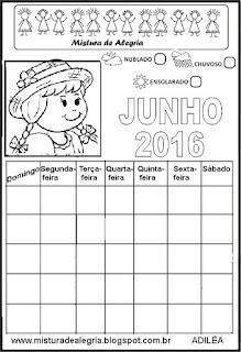 Calendário junho 2016 colorir