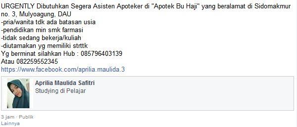 Lowongan Kerja Asisten Apoteker  Apotek Bu Haji, Malang Januari 2017