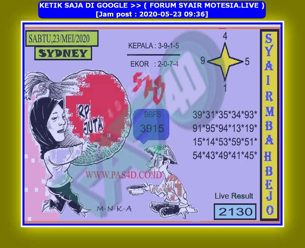 Kode syair Sydney Sabtu 23 Mei 2020 173
