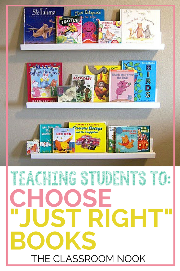 "Teach students how to choose ""just right"" books for their independent reading during reader's workshop.  Perfect for second grade, third grade, fourth grade, and fifth grade classrooms.  Blog post also includes a FREE student bookmark! #readersworkshop #teaching #readingminilessons #reading #elementary #teaching"