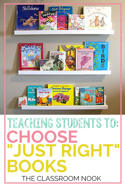 "Teach students how to choose ""just right"" books for their independent reading during reader's workshop.  Perfect for second grade, third grade, fourth grade, and fifth grade classrooms.  Blog post also includes a FREE student bookmark! #readersworkshop #teaching #readingminilessons #reading #elementary"