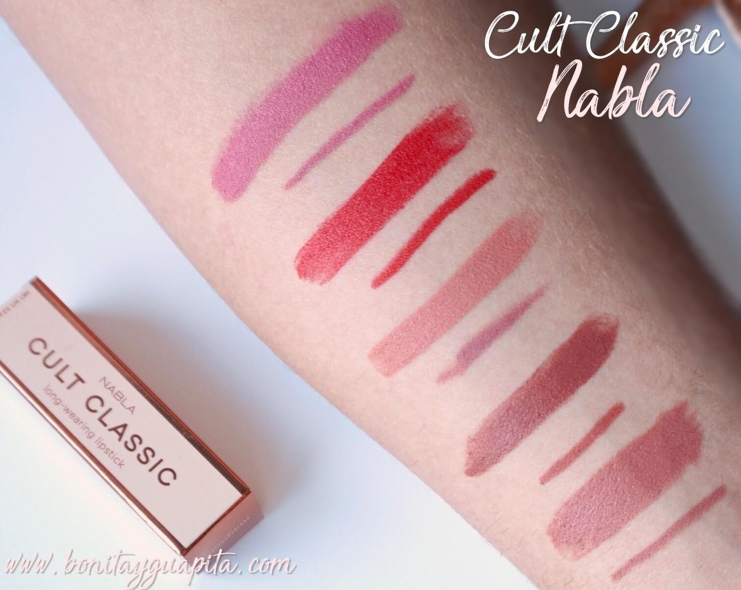 nabla cult classic swatches labiales velvetline lapiz de labios