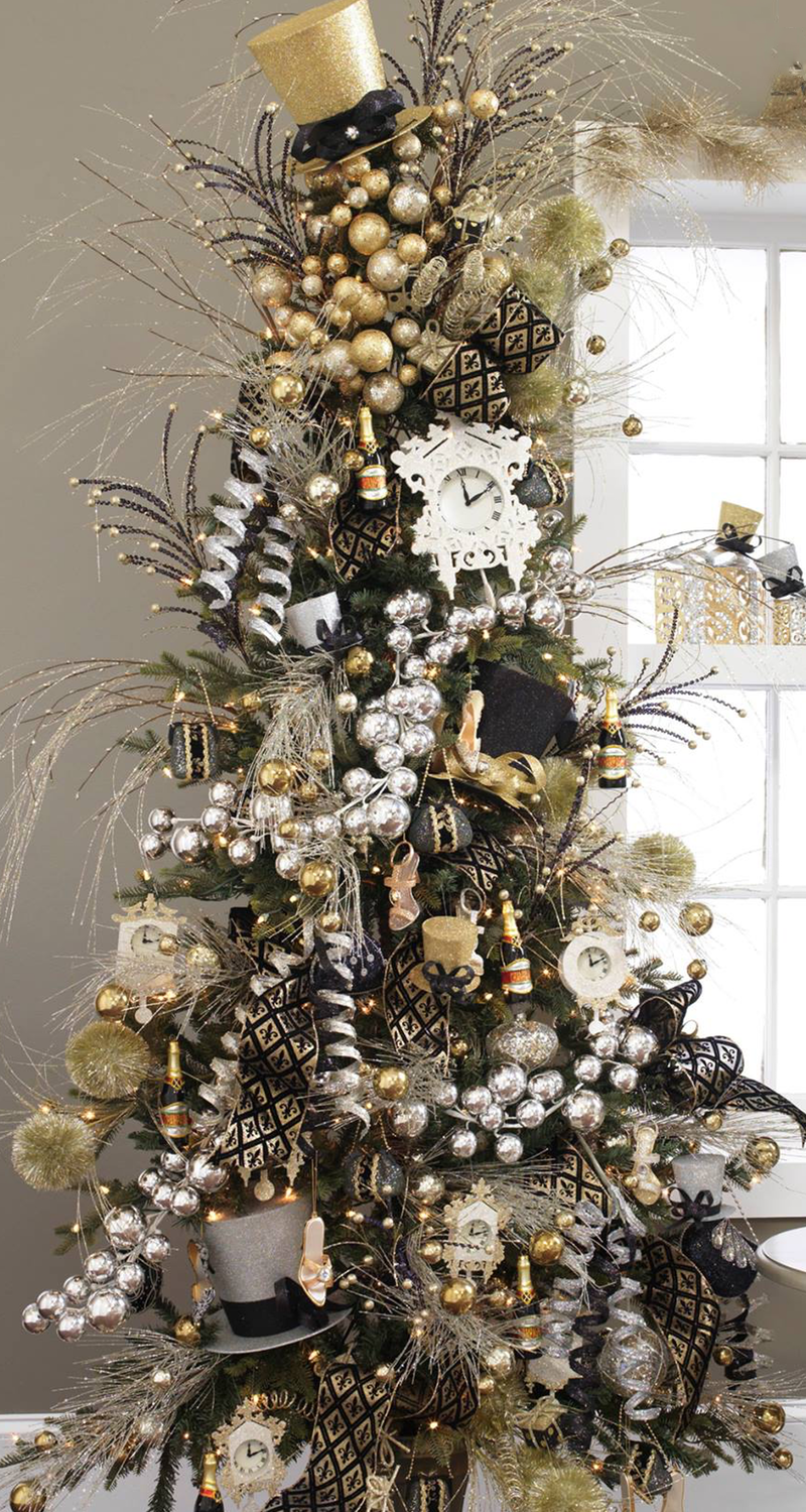 festive blackgoldsilver tree - Black And Silver Christmas Tree