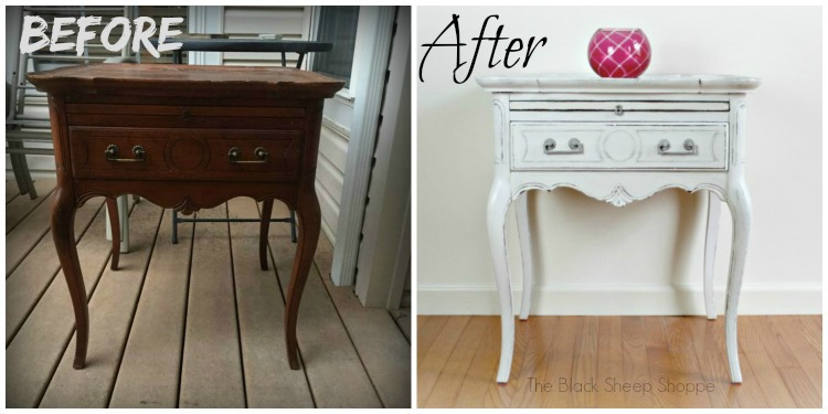 Queen Anne style side table before and after.