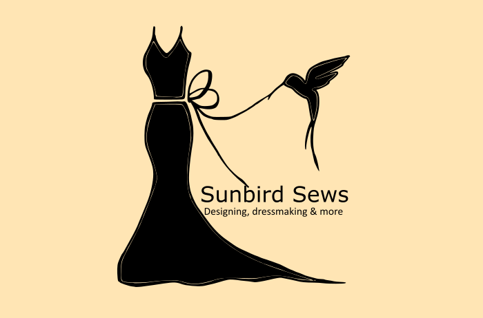 sunbirdsews sunbird sews clothing brand logo created by hand drawing converted to electronic image dress bird in logo
