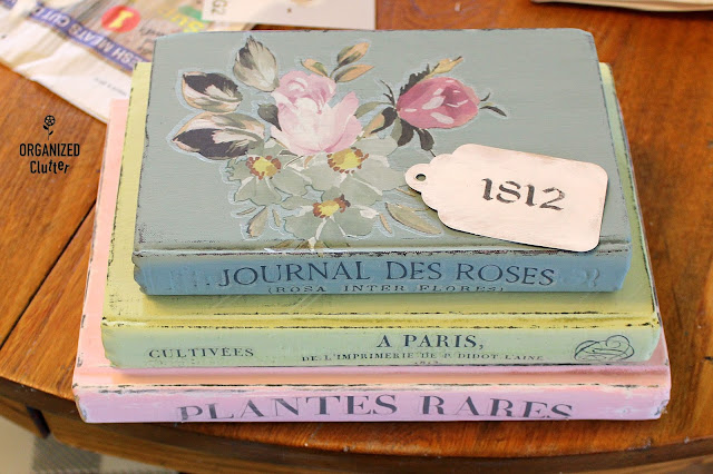 Beautiful Upcycled Books with Dixie Belle Paint & Iron Orchid Decor Transfers #dixiebellepaint #primamarketingtransfers #IODtransfers #oldbooks #upcycledbooks #thriftshopmakeover