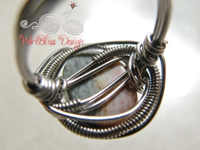 Wire wrapped Jasper ring bottom view