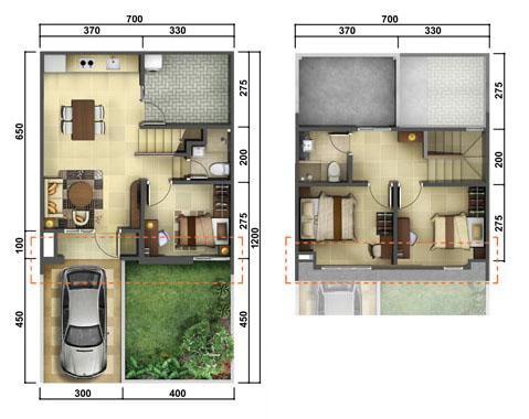 Denah Rumah Minimalis Ukuran 7x12 Meter 3 Kamar Tidur 2 Lantai