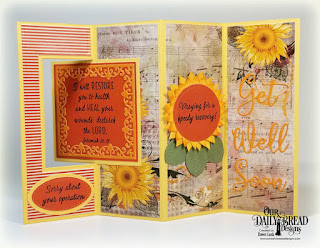 Our Daily Bread Designs Stamp Set: Get Well Wishes, Paper Collections: Follow the Sun, Fall Favorites,Custom Dies: Lever Card, Lever Card Layers, Lacey Corners, Ovals, Pierced Ovals, Roses, Bitty Blossoms, Get Well Soon