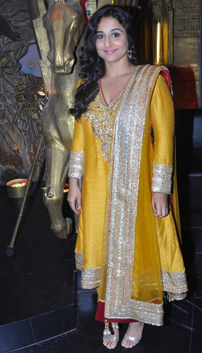 Actress Vidya balan Long Hair Stills In Yellow Dress